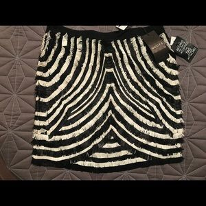 Gucci leather fringe skirt new